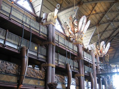 Like all the Disney Deluxe resorts, the lobby of Disney's Animal Kingdom Lodge is large and highly detailed - making you feel as if you've left Florida and entered Africa.
