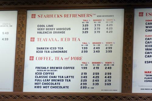 The drink menu is standard.