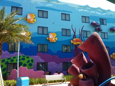 The interior courtyard sides of the buildings contain great three-dimensional characters. In the Finding Nemo section, everything it made to a scale as if you were a fish in the sea.