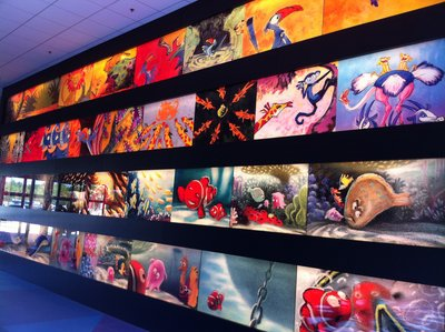 As you enter Animation Hall, the main lobby and services building, get ready to see some great art.