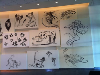 The walls of the check in area are covered with sketches and artwork – some of it never before seen.