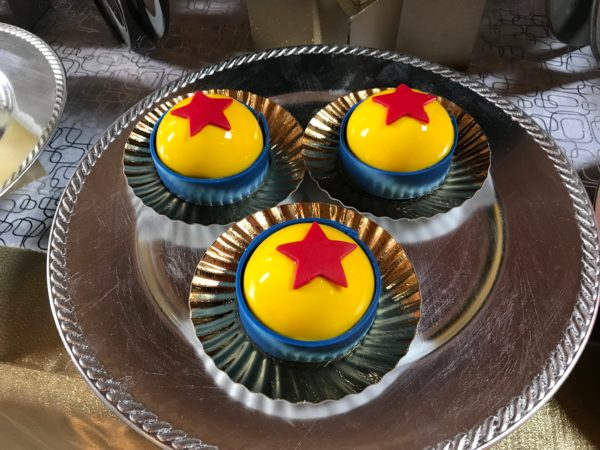 The Pixar Luxo ball is made from mango mousse, banana sponge cake, and caramel chocolate.