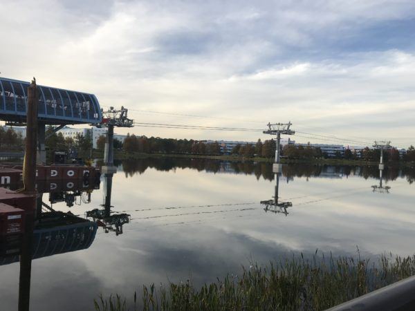 Here you can see the Skyliner support towers in Hourglass Lake. This is looking from the back of Pop Century to the front of Art of Animation.