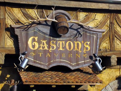 The real sign for Gaston's Tavern in Fantasyland.  Note the antlers.