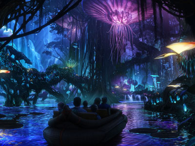 Art shows a boat ride through the forest.