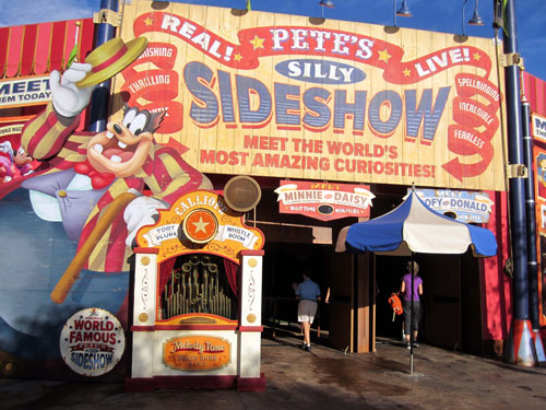 Stop by Pete's Silly Sideshow to get some pictures with your favorite Disney characters.
