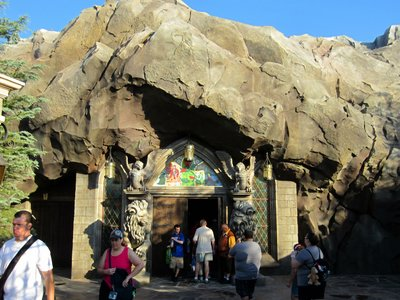 The Be Our Guest entrance doors are built into the rock work.