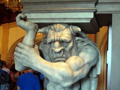 The real full size Minotaur is located in the nearby Be Our Guest restaurant.