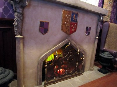 The fireplace has great details and simulated flames.