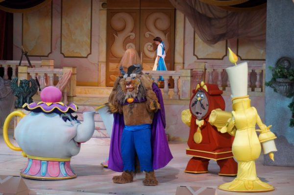 The Beast and his friends at Beauty and the Beast-Live Stage Show.