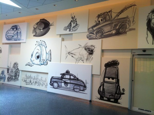 Check out the black and white sketches in the lobby of Disney's Art of Animation Resort.