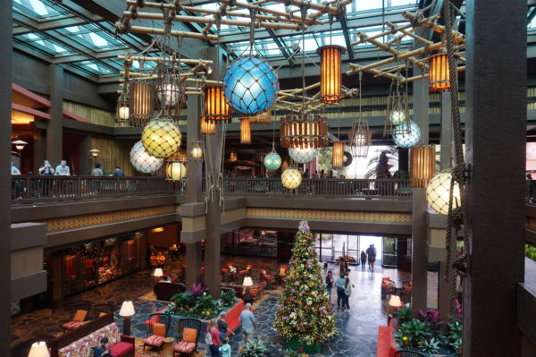 Disney's Polynesian Resort lobby has a laid-back, island vibe.