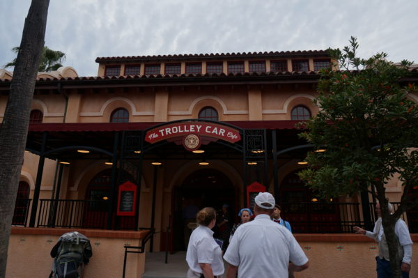 Trolley Car Cafe is themed like an old train station!