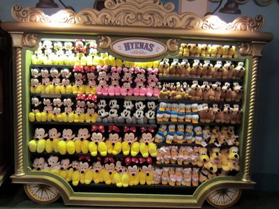 The merchandise along the walls is displayed in these detailed circus wagons - nicely done.