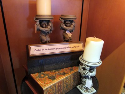 These detailed candle holders feature a Minotaur, which you can see in the Be Our Guest restaurant.
