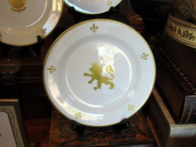 The store sells some very regal plates and stemware.
