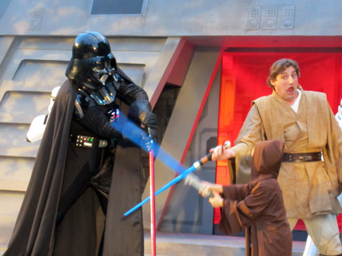 Dress up like a Jedi and battle Darth Vader.  How cool is that?