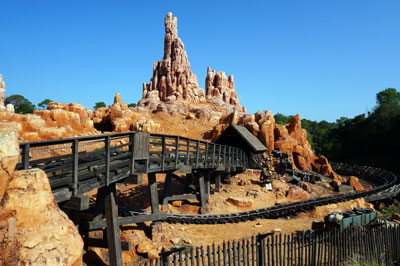 The Briar Patch shop is in the shadow of Big Thunder Mountain and Splash Mountain.