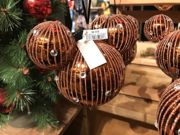 Bronze Mickey ear Christmas ornament.