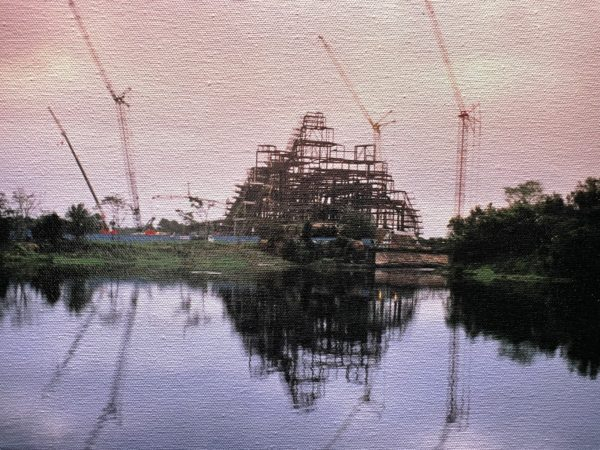 The giant, steel endoskeleton of Expedition Everest - The Legend of the Forbidden Mountain rises toward the sky during construction at Disney's Animal Kingdom. Photo credits (C) Disney Enterprises, Inc. All Rights Reserved