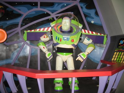 The Buzz Lightyear animatronic in the queue introduces the ride.