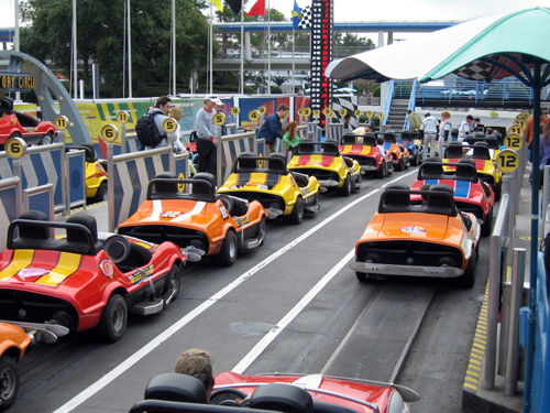 Tomorrowland Speedway is pretty authentic considering that the cars are actually gas powered!