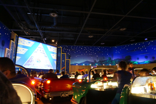 Auto enthusiasts will love being transported back in time at the Sci-Fi Dine In Theater.