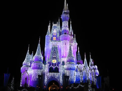 Somehow the lights make the beautiful Cinderella Castle even a bit more beautiful.