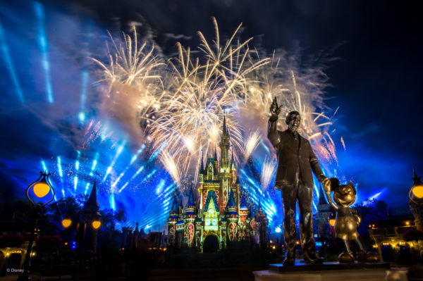This Castle fireworks photo with the Partners statue is beautiful. Photo credits (C) Disney Enterprises, Inc. All Rights Reserved