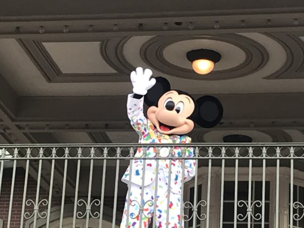 Mickey waved goodbye at the end of the day.
