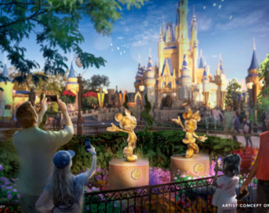 Special golden character sculptures in the Magic Kingdom. Photo credits (C) Disney Enterprises, Inc. All Rights Reserved