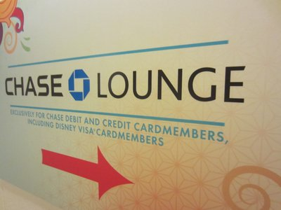 Entrance sign for Chase Lounge on the third floor of the American Adventure.