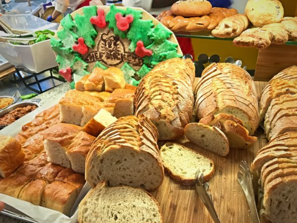 The bread selection is extensive and beautifully presented, and includes many choices.