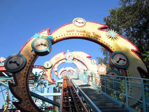 Primeval Whirl is a fun, twisting roller coaster.