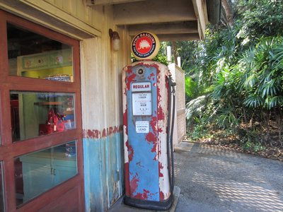 You can still find the gas pumps from the original gas station.