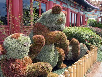 Playful panda topiaries near the China pavilion.