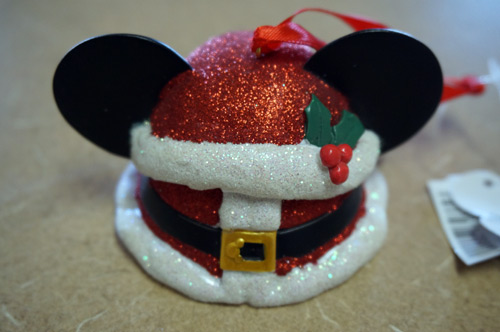 Mickey Santa ear hat ornament with lots of sparkle.