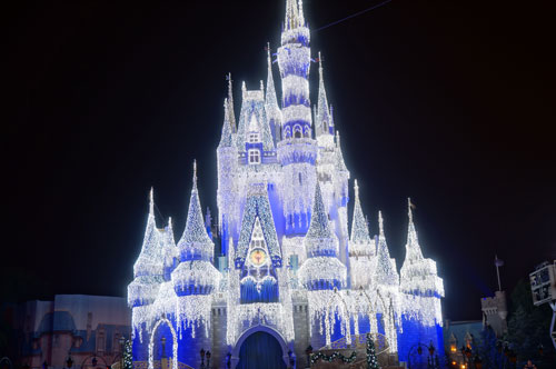 The Castle comes to life with lights.