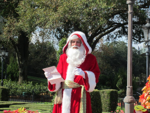 Epcot celebrate Christmas around the world like when Pere Noel, Santa Claus in France, appears in the pavilion.