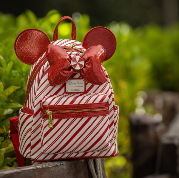 Christmas candy cane Loungefly bag. Photo credits (C) Disney Enterprises, Inc. All Rights Reserved