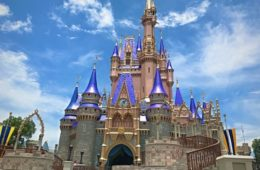 The new colors on Cinderella's Castle.