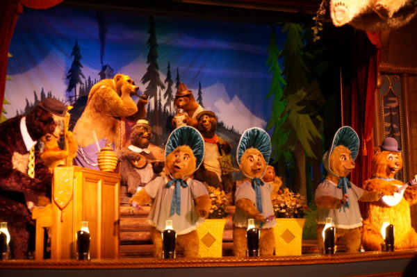 Country Bear Jamboree performs a musical number with audio animatronic bears and other animals, and it's pretty entertaining!