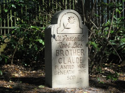 """At peaceful rest, lies brother Claude, planted here, beneath the sod""."