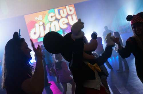 Mickey Mouse on the dance floor.