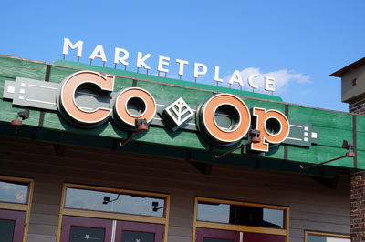 The exterior of the Co-Op looks complete.