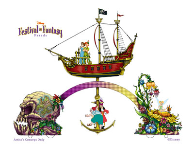 "This parade float provides a ""Peter Pan"" theme. Image credits (C) Disney Enterprises, Inc. All Rights Reserved"