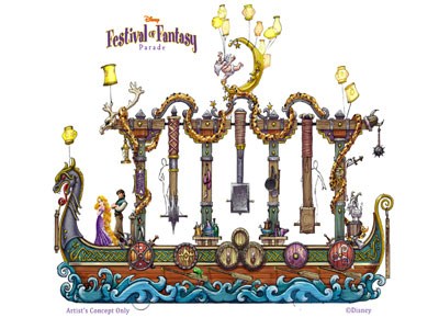 "This parade float includes elements from ""Tangled."" Image credits (C) Disney Enterprises, Inc. All Rights Reserved"