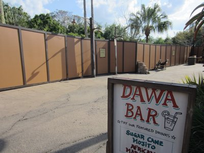 The construction wall stretches from the Africa entrance back to the Dawa Bar.