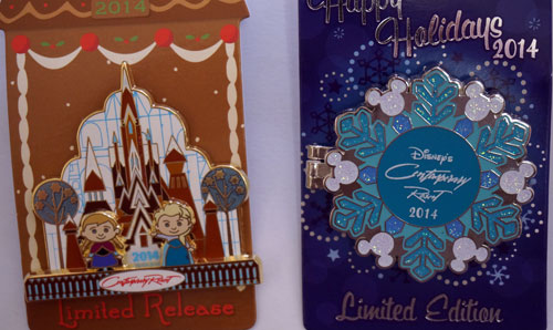 Two limited edition Disney trading pins.