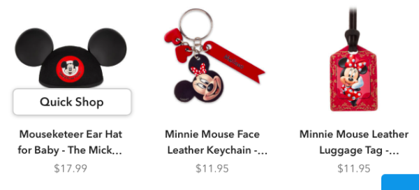 There's even a variety of merchandise like ear hats for the whole family, key chains, and luggage tags!